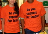 Camila Telliz of Fair Trade Princeton with Angelino Espinoza Mata, Fair Trade producer from Mexico tabling at a community event.
