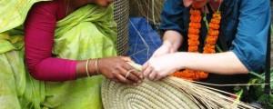 Jenn visiting the artisans of Hajiganj Kaisa Basket in Bangladesh, making the Fair Trade baskets we sell at Ten Thousand Villages.