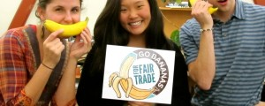 This could be you! Our intern Ivy Kim with Fair Trade Campaign National Organizers Parker and Courtney. Ivy helped develop the Go Bananas for Fair Trade Campaign!