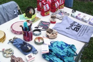 Fair Trade raffle items during earth day festivities