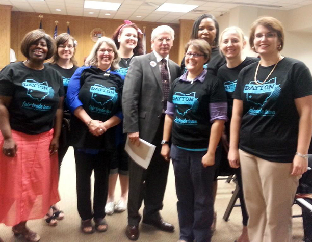 Dayton Fair Trade team members with Mayor Leitzell and the signed resolution