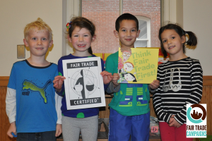(Students at Media Providence Friends School in Media, PA celebrate becoming an official Fair Trade School!)
