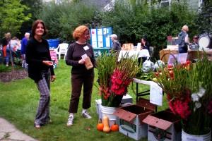 Crystal, Kathy, veggies + flowers
