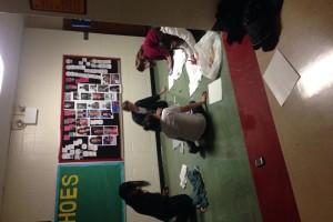 "Fair Trade Campaigners work on our ""Fair Trade Awareness Week"" hallway  design! #LAplaysfair"