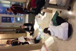 Fair trade Campaigners working on our posters to raise awareness for Fair Trade! #LAplaysfair