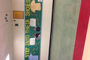 "Our ""Fair Trade Awarness Week"" hallway design! #LAplaysfair"